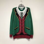 Holiday Time Christmas Ugly Sweaters Santa Claus Size L