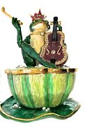 Frog With Violin Trinket Music Box Bejeweled W/ Crystals Collectible