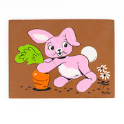 Vintage Sifo Wooden Pink Bunny With Carrot 7-piece Puzzle 139