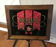 Vintage Michelob Beer Bar Sign Painted Glass With Red Foil