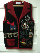 Sharon Young Cowboy Christmas, Novelty Sweater Vest, Size Small - Nwt