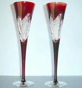 Waterford Crystal Ruby Red 2014 Times Square Flutes Set/2 Imagination New In Box