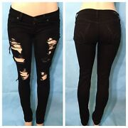 Citizens Of Humanity Sz 26 Black Destroyed Ripped Low Rise Skinny Stretch Jeans