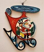 Santa Claus And Reindeer In Helicopter Glitter Christmas Ornament Vtg Img