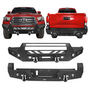 Hooke Road Black Steel Front Or Rear Bumpers Bar Combo For 16-21 Toyoto Tacoma