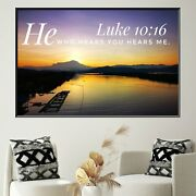 Bible Quote Luke 10/16 Christianity Religion And Jesus Canvas Art Print For Wall