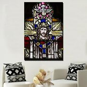 Jesus On Stained Glass Christianity Religion And Jesus Canvas Art Print For Wall