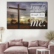 Bible Quote Philippians 4/13 Christianity Religion And Jesus Canvas Art Print Fo