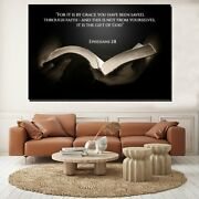 Bible Quote Ephesians 2/8 Christianity Religion And Jesus Canvas Art Print For W