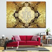 Jesus Ihs Emblem Christianity Religion And Jesus Canvas Art Print For Wall Decor