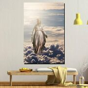 Statue Of Mary In Clouds Christianity Religion And Jesus Canvas Art Print For Wa