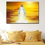 Virgin Mary Statue In Sunrise Christianity Religion And Jesus Canvas Art Print F