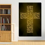 Golden Cross Christianity Religion And Jesus Canvas Art Print For Wall Decor