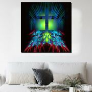 Fractal Cross Christianity Religion And Jesus Canvas Art Print For Wall Decor