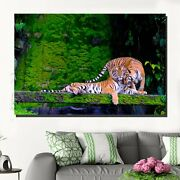 A Tiger Couple Animals Lions And Tigers Canvas Art Print For Wall Decor