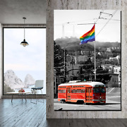 Red Street Car Lgbtq Inspired Canvas Art Print For Wall Decor