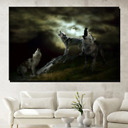 Night Of The Wolves Wolves And Wolf Canvas Art Print For Wall Decor