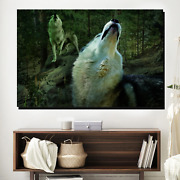 Two Howling Wolves Wolves And Wolf Canvas Art Print For Wall Decor