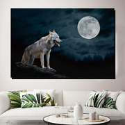 Night Wolf Wolves And Wolf Canvas Art Print For Wall Decor