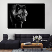 Black Wolf In The Night Wolves And Wolf Canvas Art Print For Wall Decor