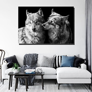 Two Grey Wolves Wolves And Wolf Canvas Art Print For Wall Decor
