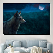 Wolf In The Night Wolves And Wolf Canvas Art Print For Wall Decor