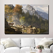 Wolf In Alpine Forest Wolves And Wolf Canvas Art Print For Wall Decor
