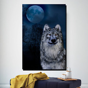 Wolf And Full Moon Wolves And Wolf Canvas Art Print For Wall Decor