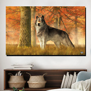 Autumn Wolf Wolves And Wolf Canvas Art Print For Wall Decor