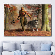 Native American Hunter And Wolf Wolves And Wolf Canvas Art Print For Wall Decor