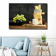 Assorted Cheeses And A Bottle Of Wine Kitchen Dining And Cafe Decor Canvas Art P