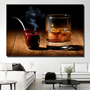 Smoking Pipe And Whiskey Beer Whiskey And Wine Canvas Art Print For Wall Decor