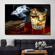 Cigar Smoke And Whiskey Beer Whiskey And Wine Canvas Art Print For Wall Decor