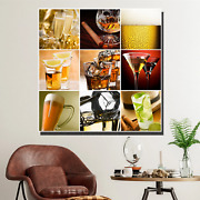 Collage Of Bar Drinks Beer Whiskey And Wine Canvas Art Print For Wall Decor