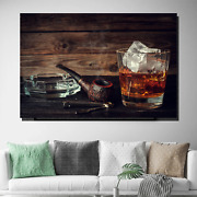 Pipe And Whiskey Glass Beer Whiskey And Wine Canvas Art Print For Wall Decor