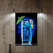 Blue Curacao Cocktail Beer Whiskey And Wine Canvas Art Print For Wall Decor