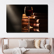 Wine And Old Books Beer Whiskey And Wine Canvas Art Print For Wall Decor