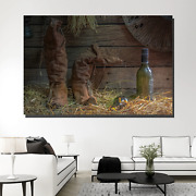 Boots And Bottles Beer Whiskey And Wine Canvas Art Print For Wall Decor