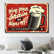 Beer Vintage Tin Sign Beer Whiskey And Wine Canvas Art Print For Wall Decor