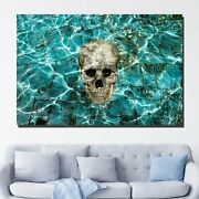 Skull In A Pool Skulls And Dark Art Canvas Print For Wall Decor