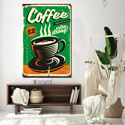 Coffee Vintage Tin Sign Cafe And Coffee Canvas Art Print For Wall Decor