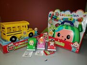 ⭐️new Cocomelon Bundle Musical Yellow School Bus Toy And Musical Check Up Set⭐️