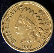 1860 Copper-nickel Indian Head Cent Penny Pointed Bust Au Condition