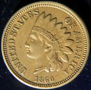 1860 Copper-nickel Indian Head Cent Penny, Pointed Bust, Au Condition