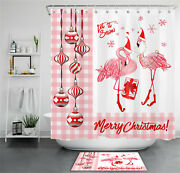 71 Christmas Balls Pink Flamingo Gifts Shower Curtain Sets For Bathroom Decor