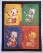Large Andy Warhol Toy Paintings Four Pandas Offset Lithograph 1990 Germany