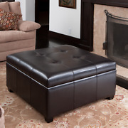 Living Room Expresso Brown Bonded Leather Storage Ottoman