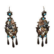 French Mid Victorian 14 Kt Gold Turquoise And Ruby Bird Earrings