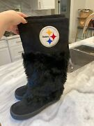 New Pittsburgh Steelers Faux Fur Devotee Womenand039s Boots Licensed Size 9