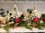 Rare Vintage 2 Bottlebrush Christmas Trees Flocked And Decorated Ivy Red Berries